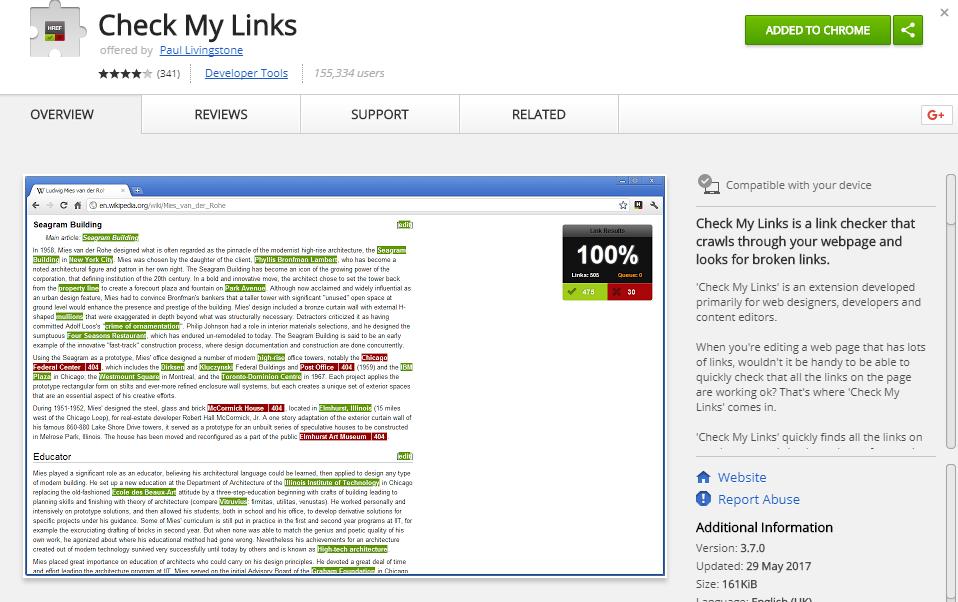Check My Links plugin Chrome