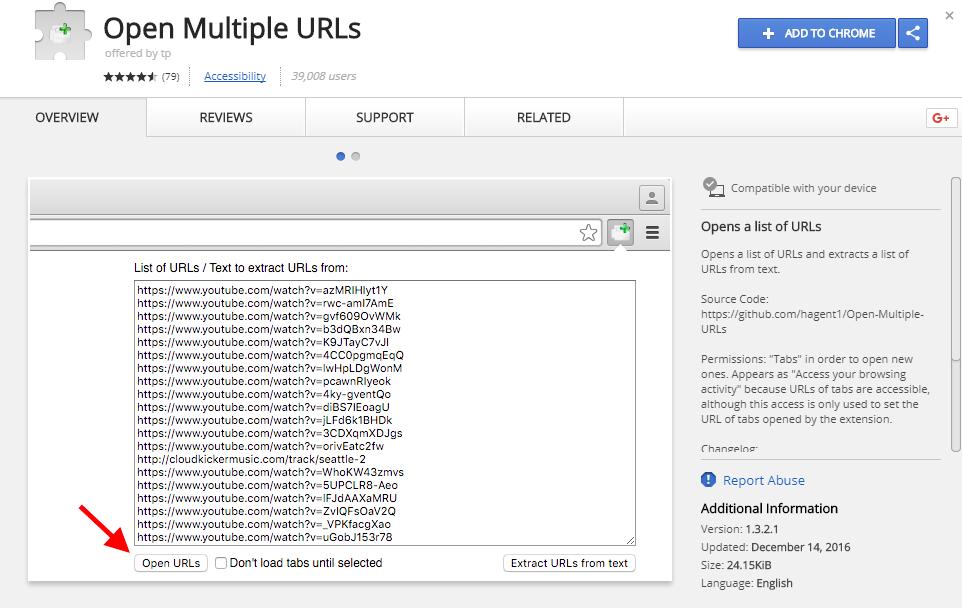 Open Multiple URLs plugin for Chrome