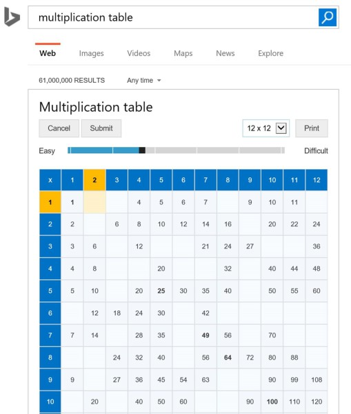 Bing times table