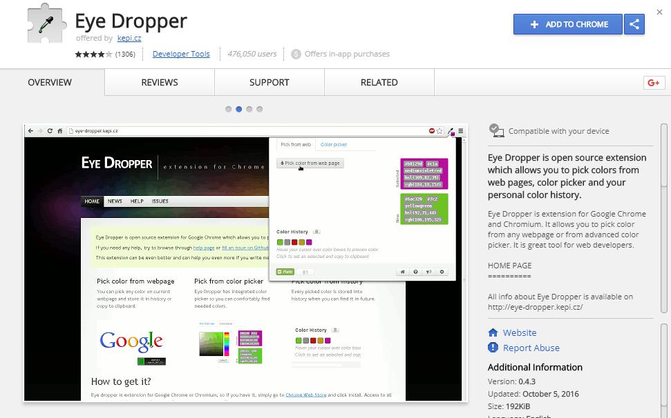 Eye Dropper Chrome Plugin