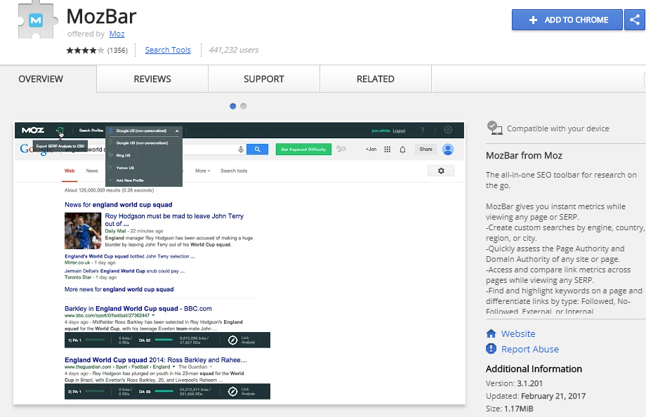 Mozbar for Chrome plugin