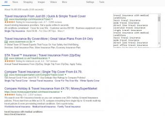 suggested keywords for travel insurance
