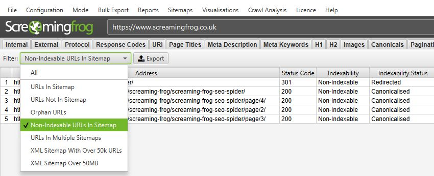 screaming frog XML Sitemap tabs screenshot