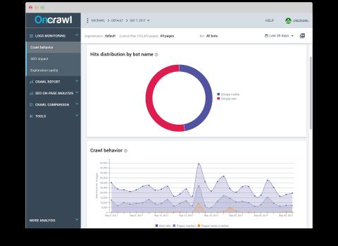 OnCrawl Log Analyser screenshot