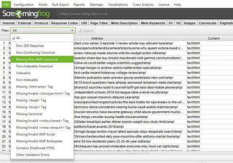 Screaming Frog new version 10.0 screenshot