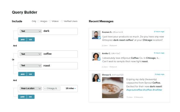 Sprout Social listening dashboard screenshot