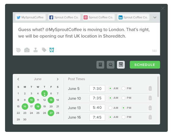 Sprout Social compose post tool screenshot