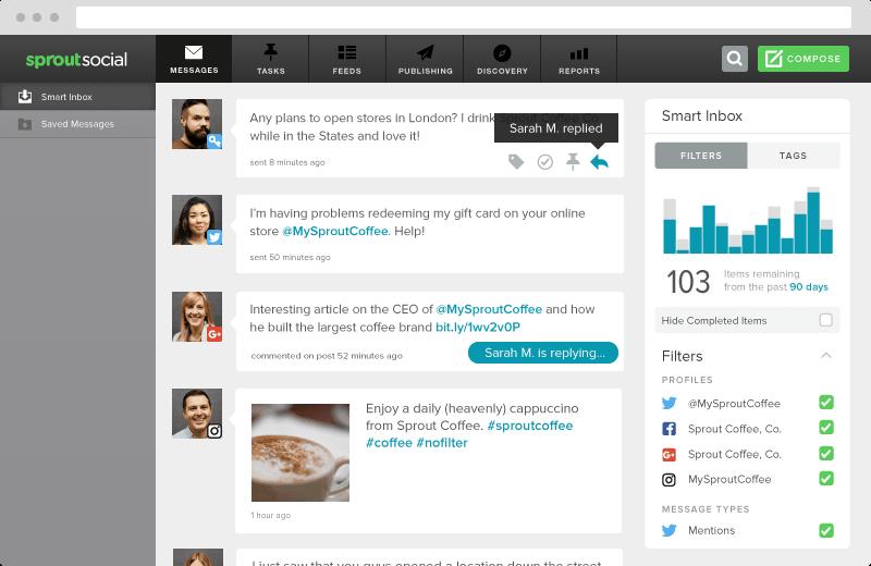 Sprout Social social message smart inbox screenshot