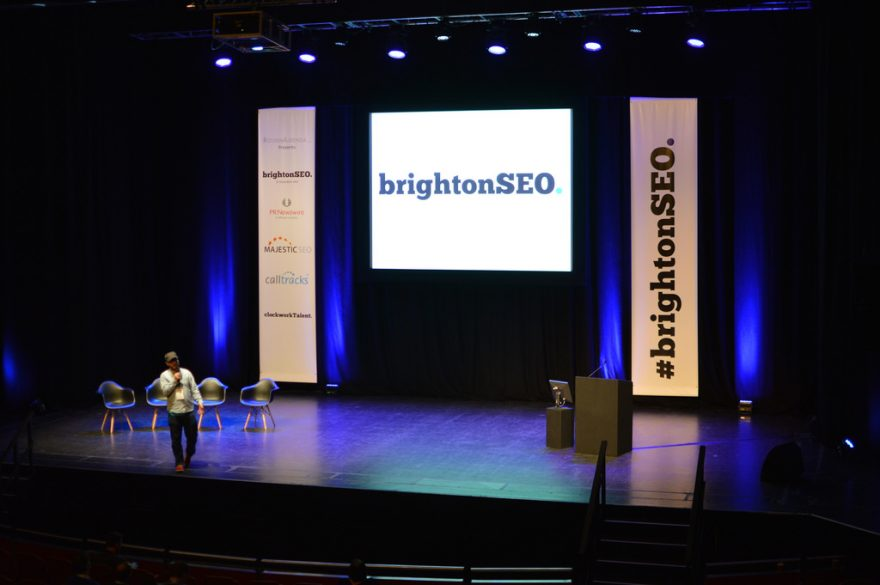 Brighton SEO speaker on stage