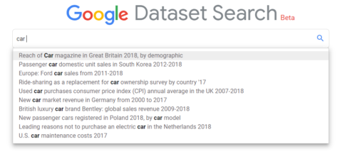 Google Dataset Search bar example